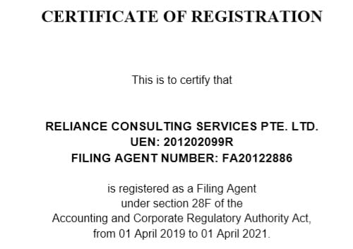 ACRA Certificate of Registration